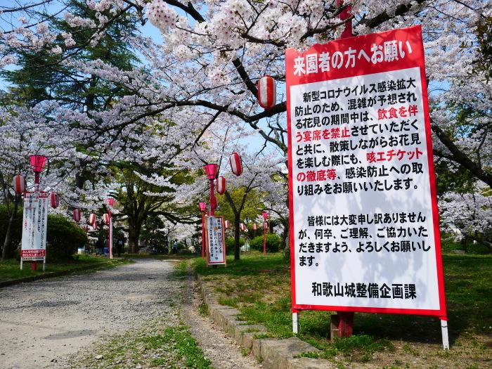 和歌山城公園も花見の宴会禁止  2020-04-07 00:00   _b0093754_23191775.jpg