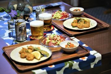 ホタテのフライとピンググレープフルーツとキャベツのサラダ!_d0367191_10532495.jpg