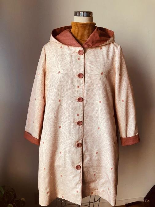 着物着物リメイク/絣のお着物からフードコート_d0127925_09285037.jpg
