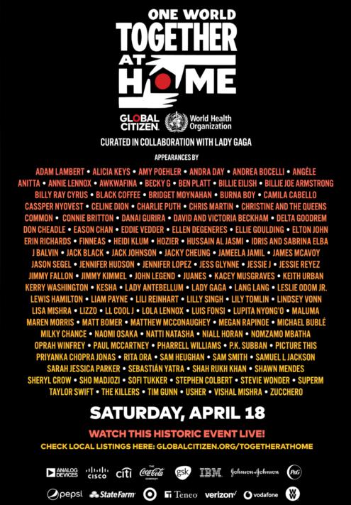 """今週末、""""One World: Together At Home"""" 全世界の人々に向けた世界初の超特大音楽イベントが全世界で放送されます_b0007805_04395354.jpg"""