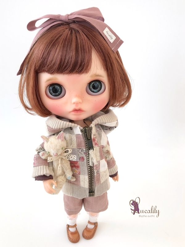 * lucalily * dolls clothes * Smoky pink patchwork blouson set *_d0217189_19115011.jpg