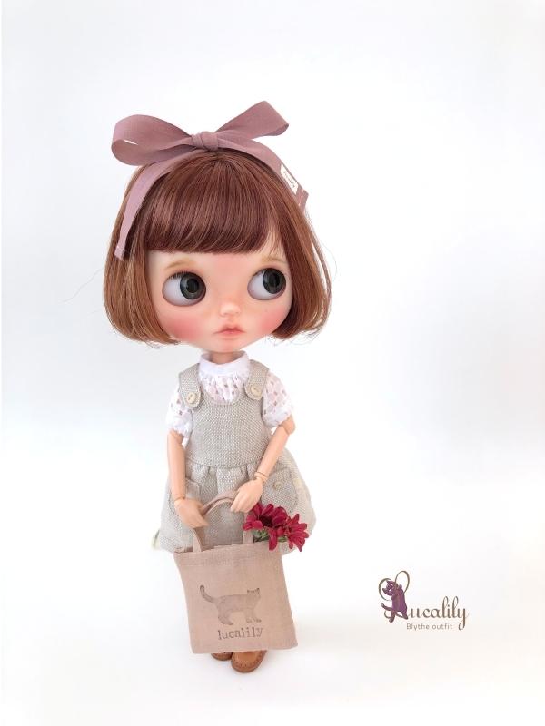 * lucalily * dolls clothes * Smoky pink patchwork blouson set *_d0217189_19115387.jpg