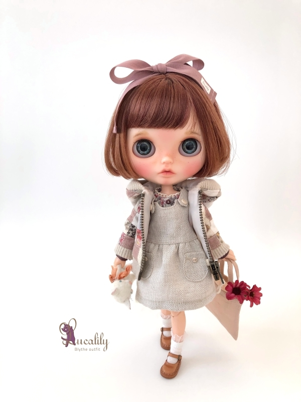 * lucalily * dolls clothes * Smoky pink patchwork blouson set *_d0217189_19115671.jpg