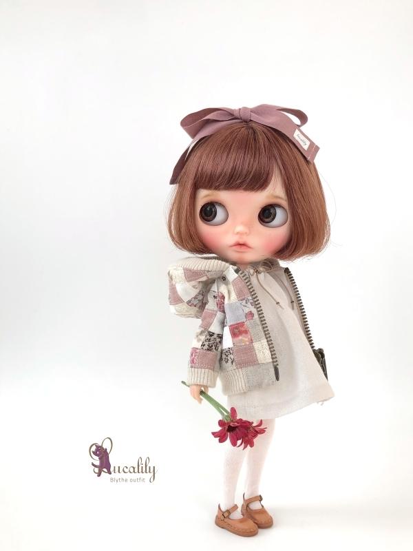 * lucalily * dolls clothes * Smoky pink patchwork blouson set *_d0217189_19120341.jpg