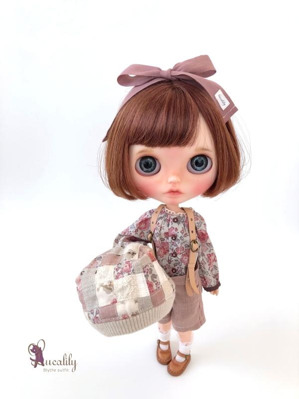 * lucalily * dolls clothes * Smoky pink patchwork blouson set *_d0217189_19120665.jpg