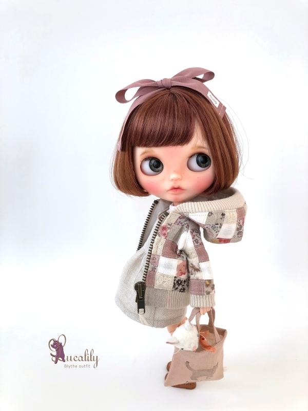 * lucalily * dolls clothes * Smoky pink patchwork blouson set *_d0217189_19121520.jpg