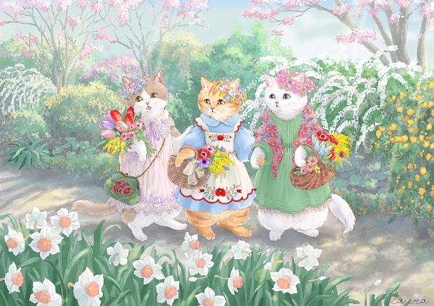Lauraの猫イラスト 春の花娘たち_d0025294_20200662.jpg