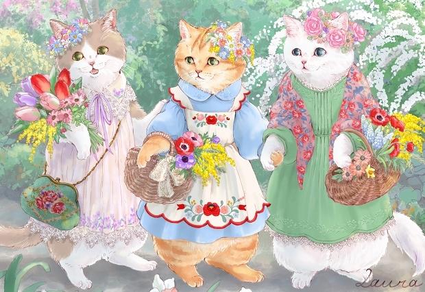 Lauraの猫イラスト 春の花娘たち_d0025294_20202203.jpg