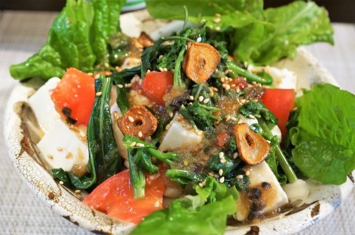 ■簡単5分!【オニオンガーリック豆腐のサラダ】美味しい!ヘルシー!_b0033423_19362196.jpg