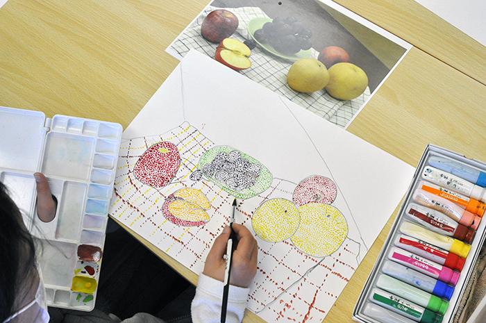 おうちで描こうよ 児童画クラス点描画_b0212226_15183240.jpg