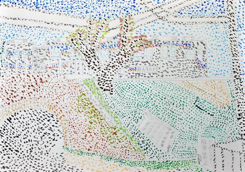 おうちで描こうよ 児童画クラス点描画_b0212226_15285070.jpg