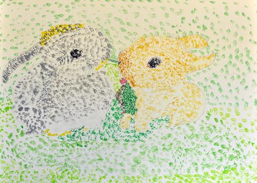 おうちで描こうよ 児童画クラス点描画_b0212226_15302983.jpg