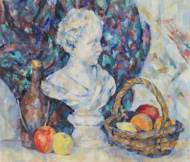 少女像と果物籠(油彩)_c0236929_19560580.jpg