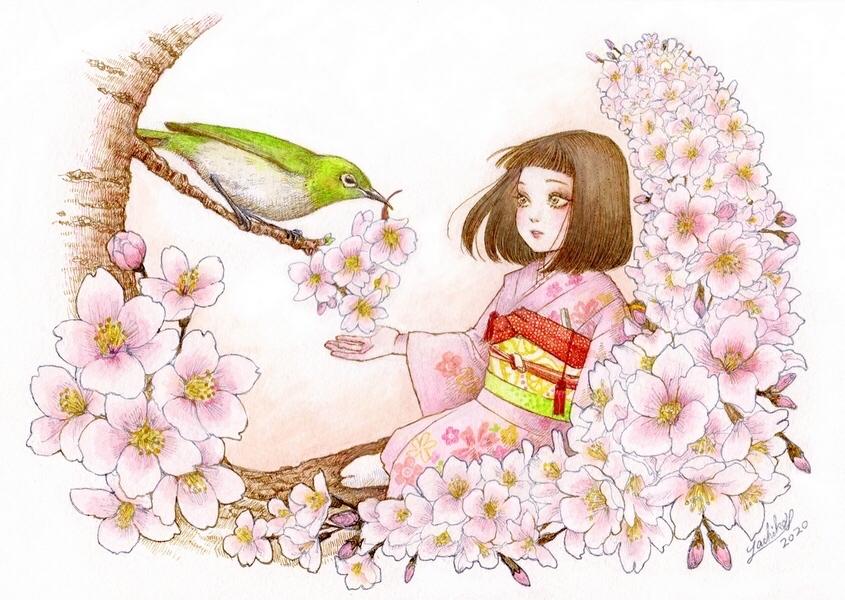 🌸メジロと桜子ちゃんブックカバー、ダウンロード開始🌸_f0228652_17100431.jpg