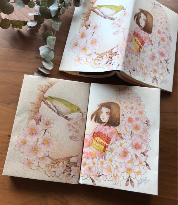 🌸メジロと桜子ちゃんブックカバー、ダウンロード開始🌸_f0228652_17102874.jpg