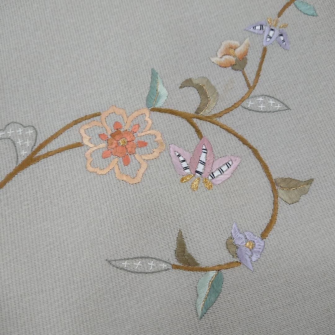 裄長小紋と刺繍名古屋帯_a0336123_11250672.jpg