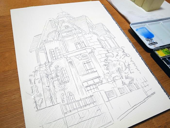 おうちで描こうよ② 一般クラス「春の洋館を描く」_b0212226_18221215.jpg