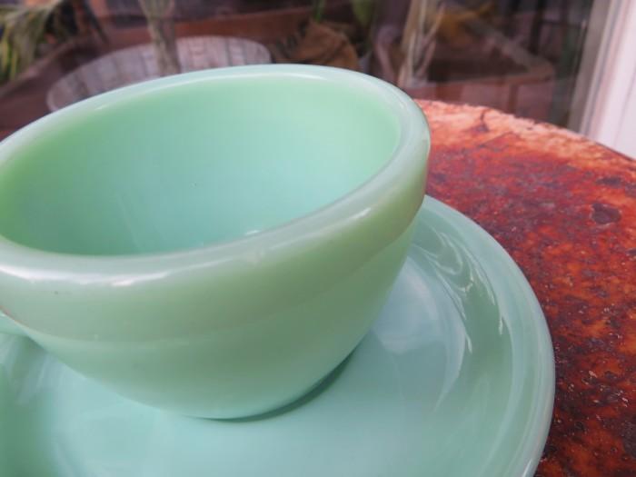 40\'s~ Fire King Jade-ite Extra Heavy Cup&Saucer + 感謝_e0187362_17273953.jpg