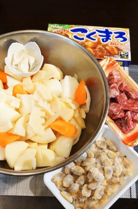 ■晩ご飯【竹の子と浅利入りビーフカレーって最高です♪】こくまろ辛口使用です♪_b0033423_21263746.jpg