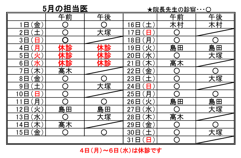 5月担当医表_b0095233_10411993.png