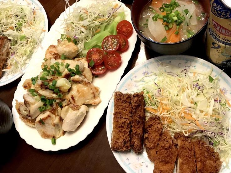鶏むね肉のネギ塩焼きとアゲモノ♪☆祝日のランチ_c0212604_12285022.jpg