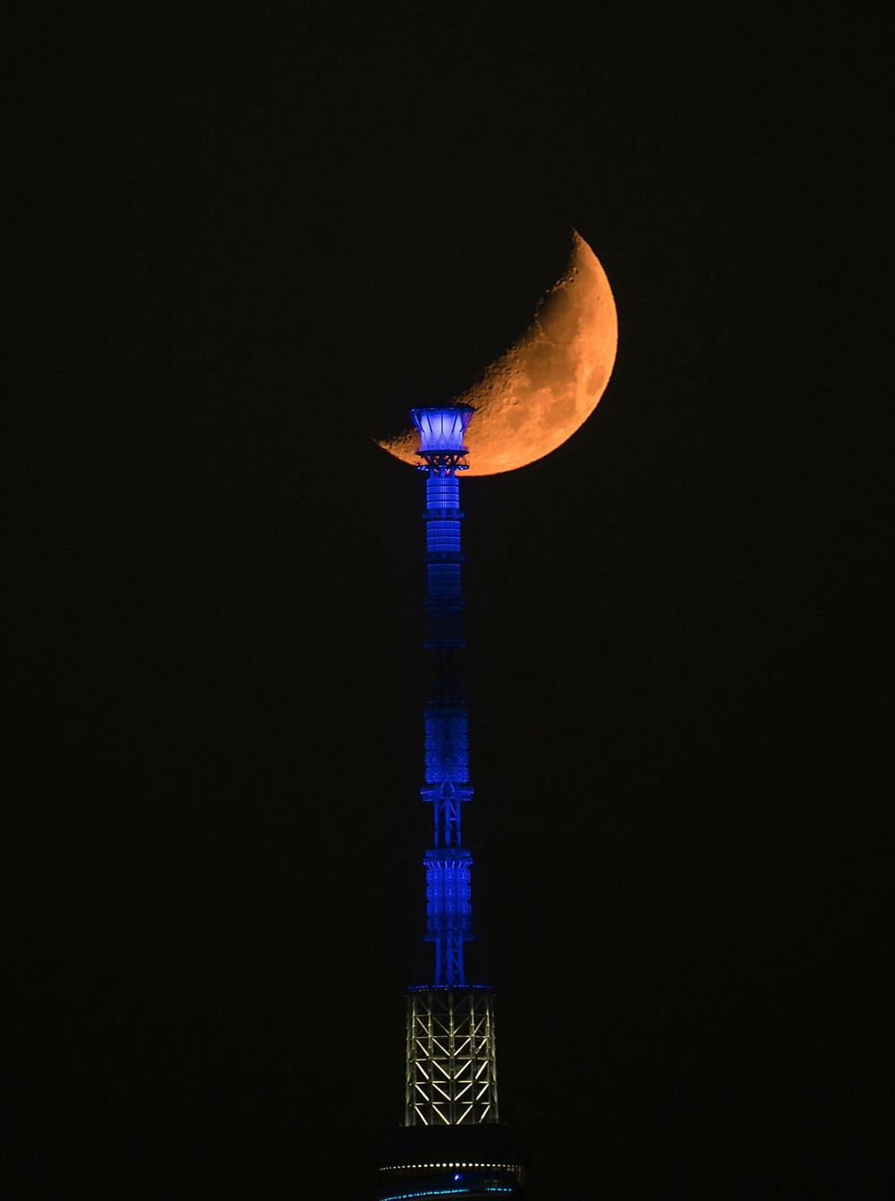 月齢6の月とスカイツリー_f0324026_01571350.jpg
