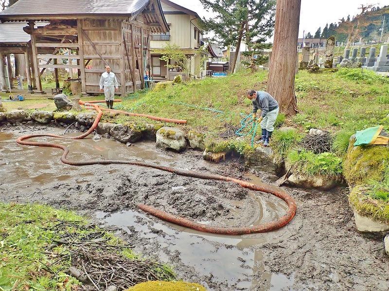 29日には毘沙門堂の「琵琶湖池」で泥上げ作業がありました_c0336902_21404312.jpg