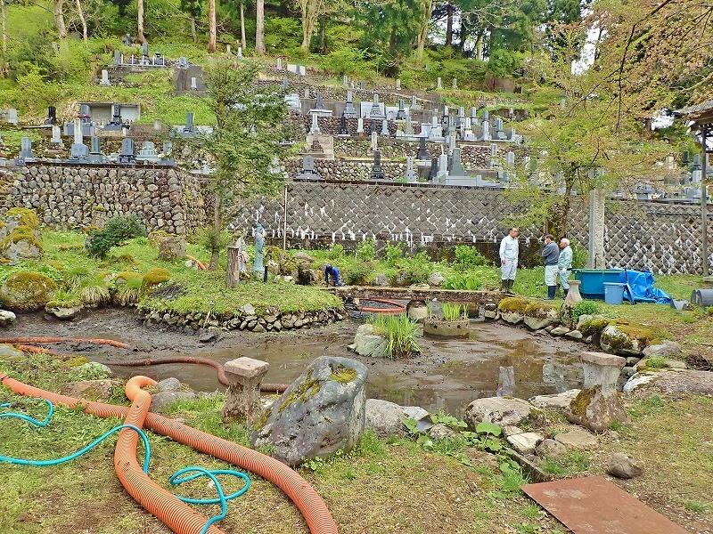 29日には毘沙門堂の「琵琶湖池」で泥上げ作業がありました_c0336902_21405230.jpg