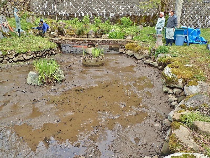 29日には毘沙門堂の「琵琶湖池」で泥上げ作業がありました_c0336902_21410109.jpg