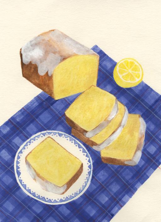 今日の絵「レモンパウンドケーキ」_a0138978_18020116.jpg