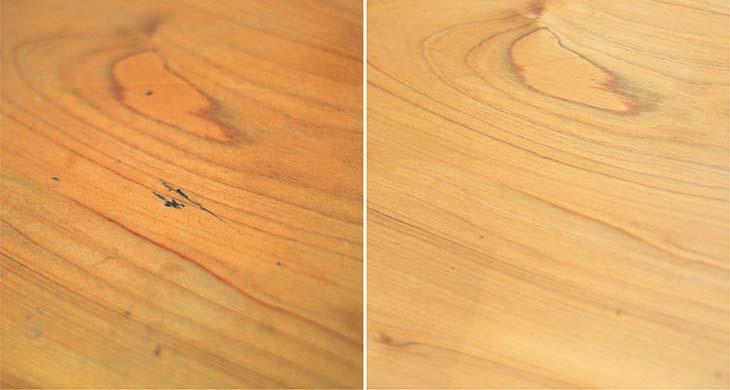 檜のテーブルをメンテナンス!_b0186205_16272815.jpg