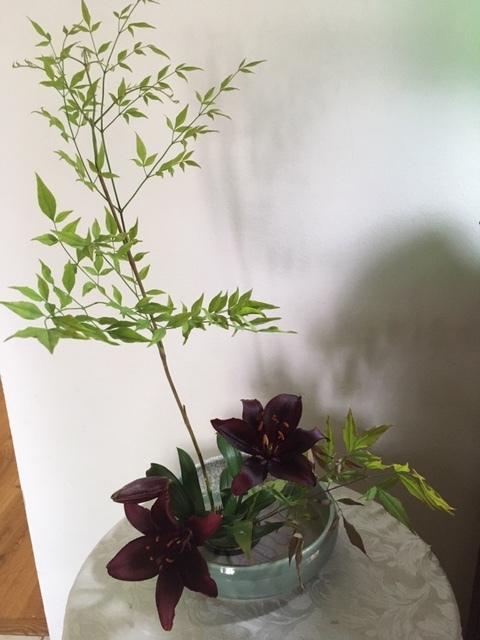 庭にある花で生け花を試みる_e0350971_23520932.jpg