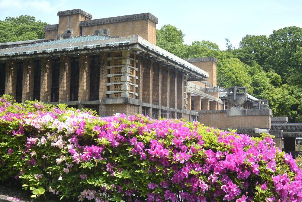 帝国ホテル中央玄関とツツジの花_e0373930_10082977.jpg