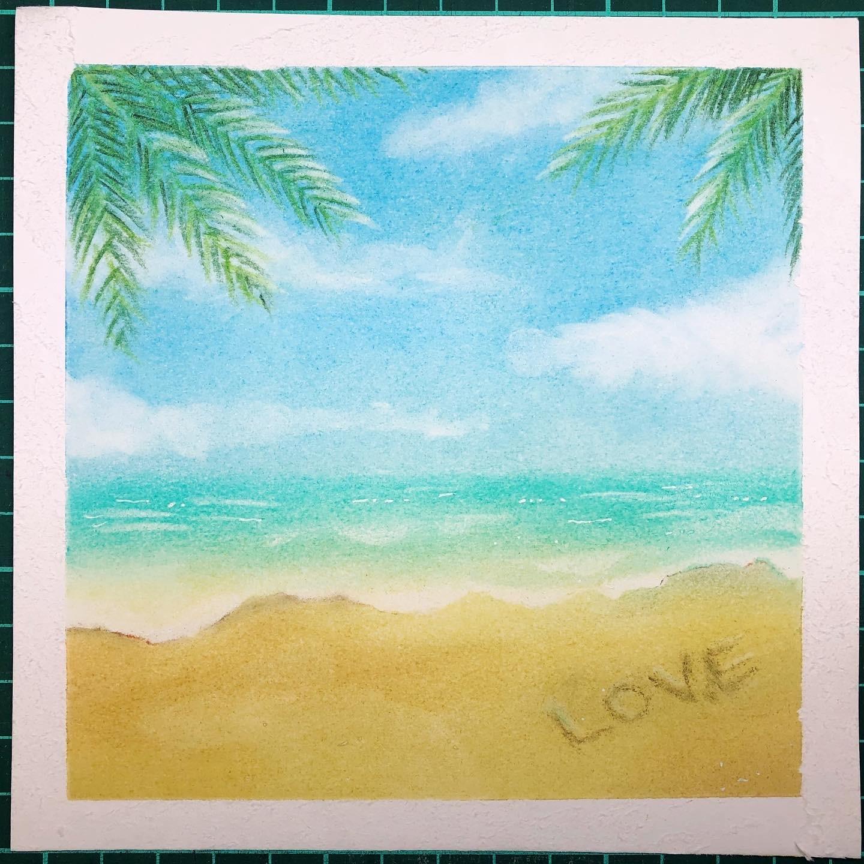 写真を見ながらラフな気持ちで砂浜を描いてみました_d0377316_11172123.jpg