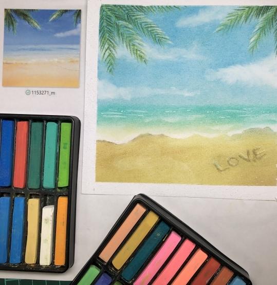 写真を見ながらラフな気持ちで砂浜を描いてみました_d0377316_11232787.jpeg