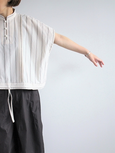ASEEDONCLOUD working blouse / plants on cloud stripe - off white_b0139281_12441013.jpg