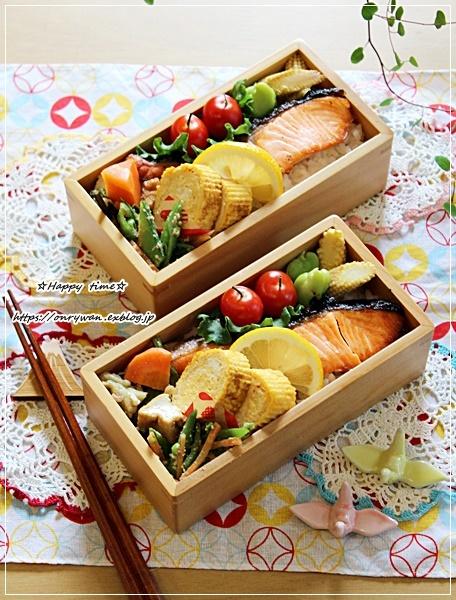 月曜鮭弁当とバラ・アンジェラ♪_f0348032_15550446.jpg