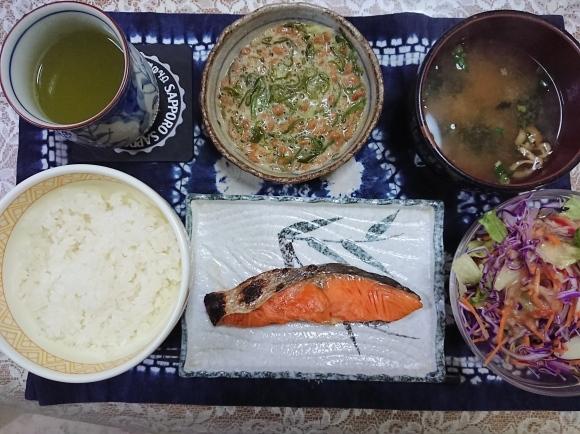 5/19宣言下42日目 焼塩紅鮭辛口納豆めかぶ定食@自宅_b0042308_06553841.jpg