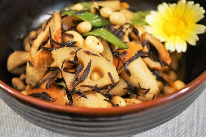 ■和食副菜【五目ヒジキ煮 作り置きにも重宝します♪】_b0033423_21112581.jpg