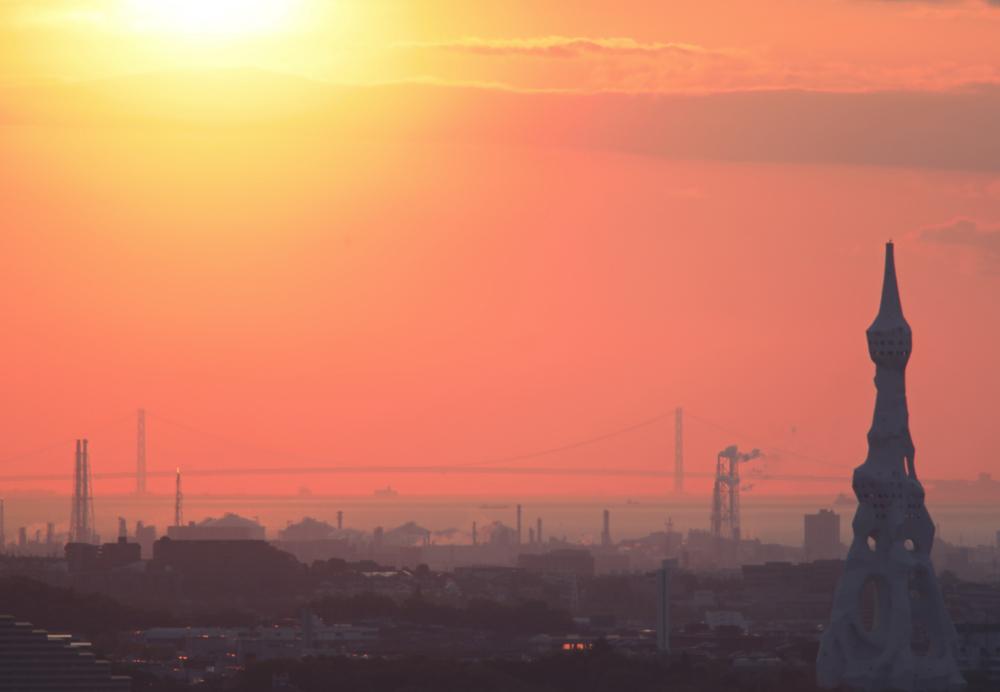 大阪 河南町 持尾 明石海峡大橋に沈む夕日_c0108146_23441908.jpg