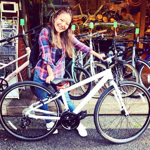 ☆本日のバイシクルガール☆ 自転車女子 自転車ガール ミニベロ クロスバイク ライトウェイ ターン riteway tern シェファード  クラッチ ブルーノ おしゃれ自転車 マリン シェファード_b0212032_15301691.jpeg