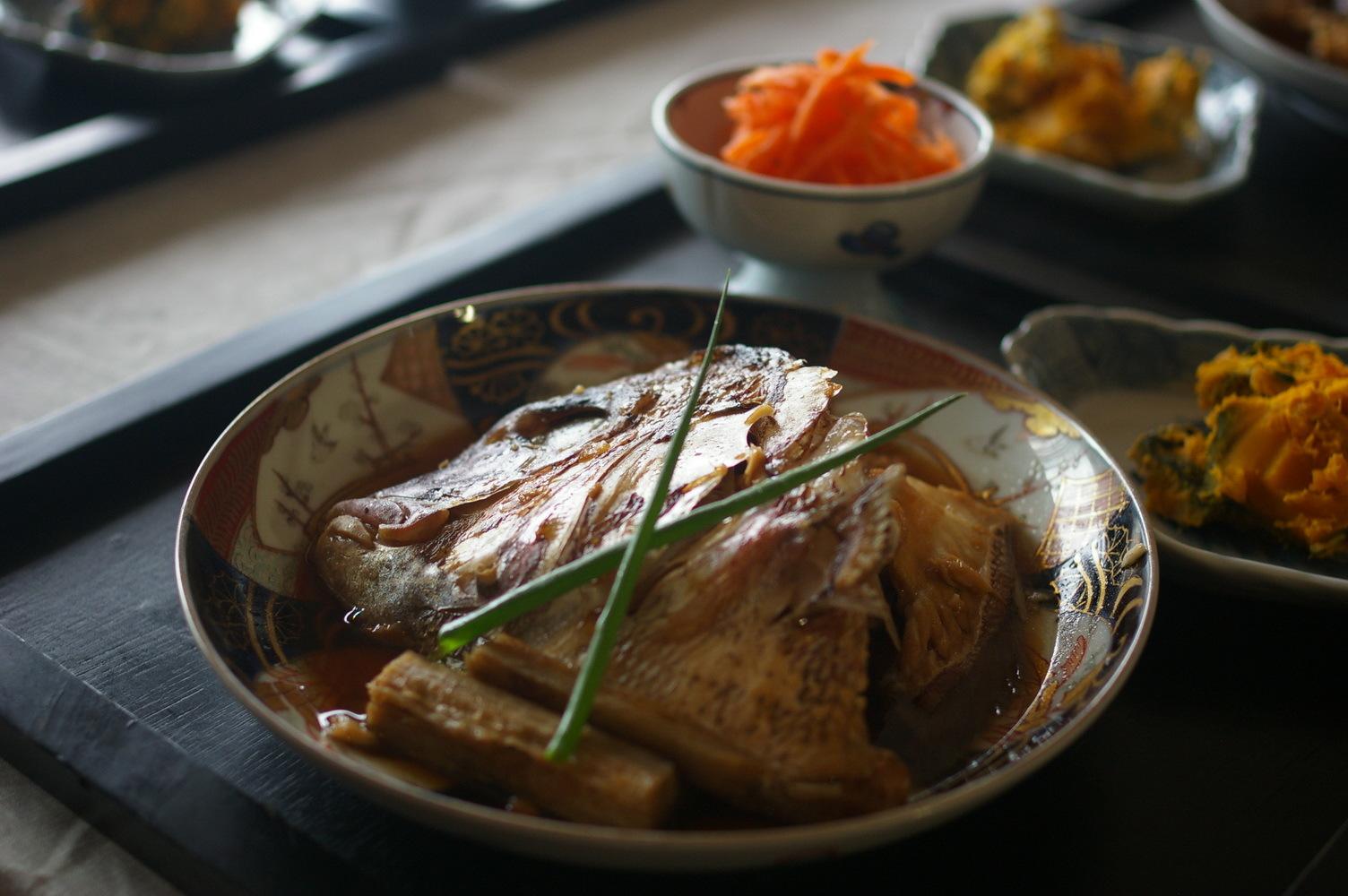 チャプチェと鯛のあら炊き_d0327373_07333763.jpg