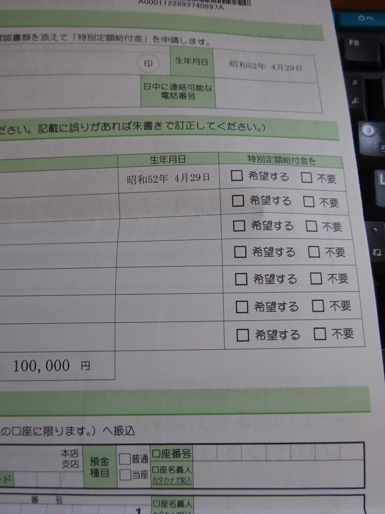 特別定額給付金申請書やっときやがった昨日 志木_d0061678_15121111.jpg