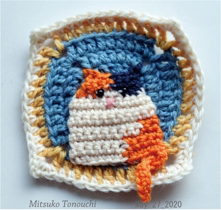 ねこモチーフ     Cat granny square_b0029036_10493285.jpg