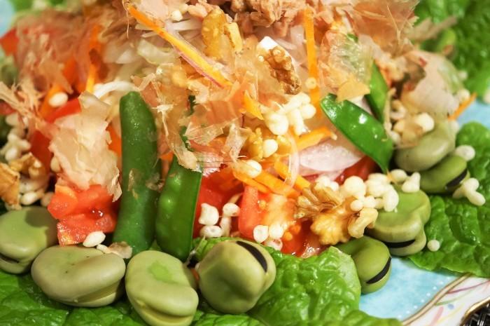 ■菜園料理【採り立て野菜色々+αで豪快にサラダです♪】_b0033423_00212510.jpg