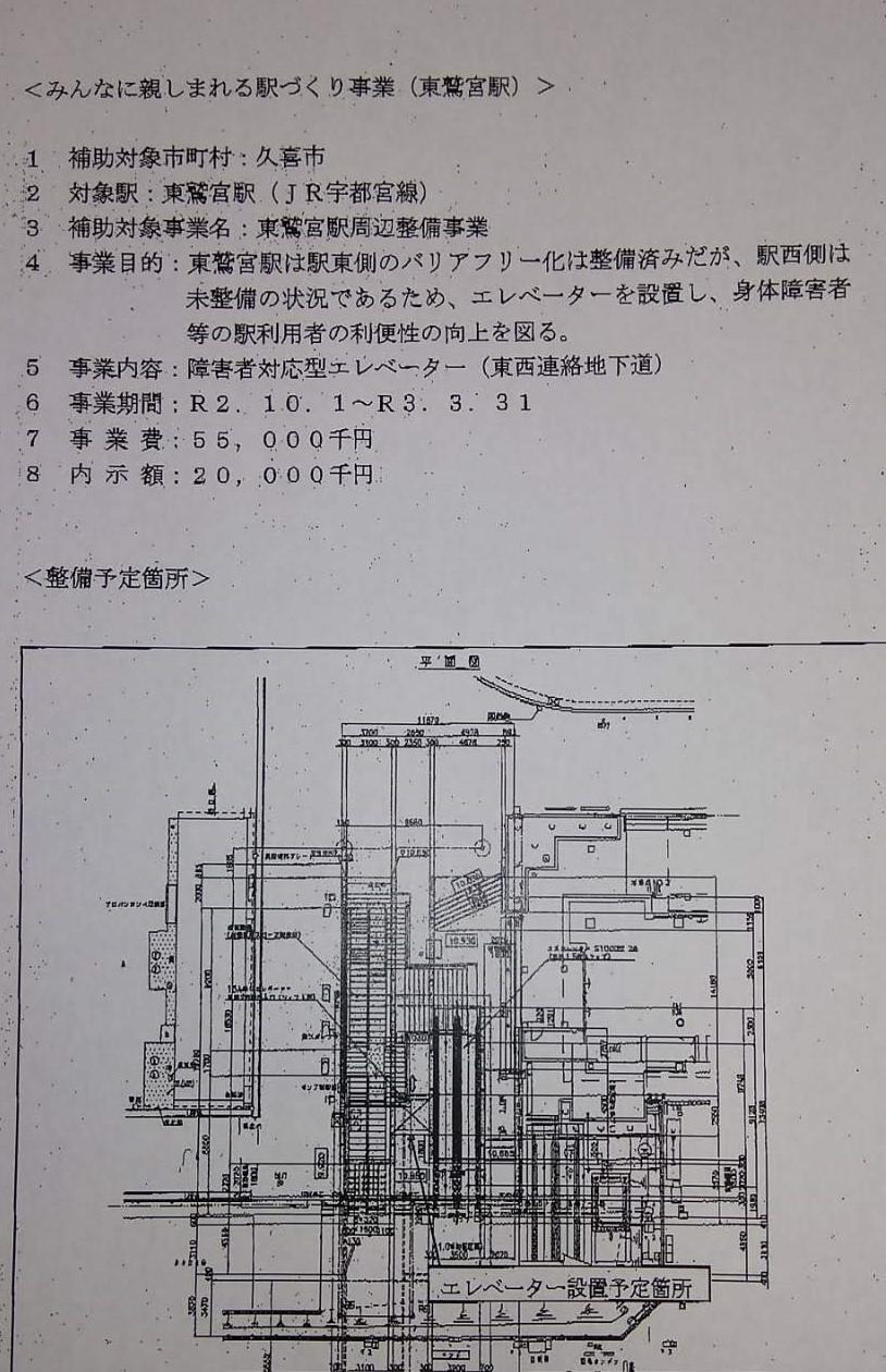 JR東鷲宮駅の東西地下連絡道に「障害者対応型エレベーター」設置費用に県補助決定 R2年5月30日_d0084783_09185460.jpg