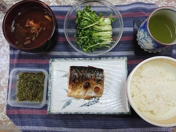 6/2 焼塩鯖めかぶ大葉浅漬けご飯定食@自宅_b0042308_11103599.jpg