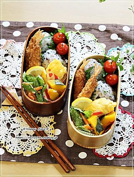 エビフライ弁当と庭からペチュニア八重♪_f0348032_16162643.jpg