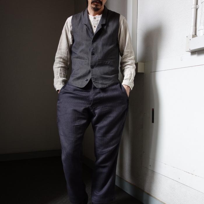 8月の製作 / DA classic stripe waistcoat_e0130546_13490932.jpg