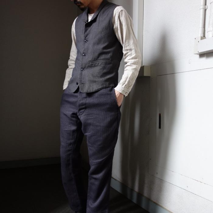 8月の製作 / DA classic stripe waistcoat_e0130546_13493245.jpg
